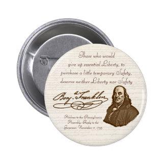 B. Franklin: Libertad y seguridad - botón #2 Pins