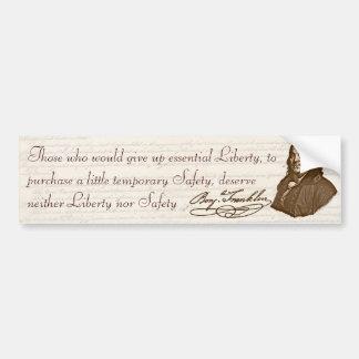B. Franklin: Libertad y seguridad - pegatina para  Etiqueta De Parachoque