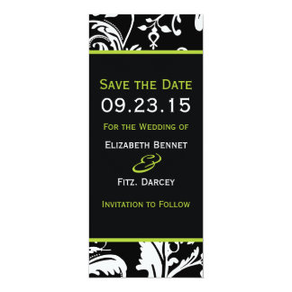 B&G Contemporary Damask Save the Date Skinny 4x9.25 Paper Invitation Card