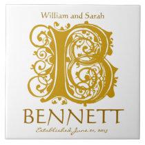 B Gold Monogram on White - Names Wedding Date Tile