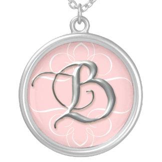 B Hand Calligraphied Monogram n Swirl Necklace