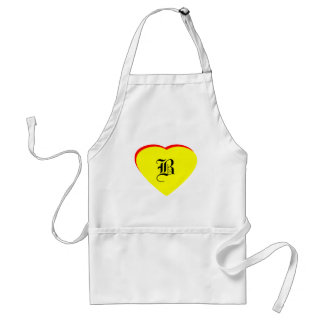 """""""B"""" Heart Yellow Red Wedding Invitation The MUSEUM Adult Apron"""