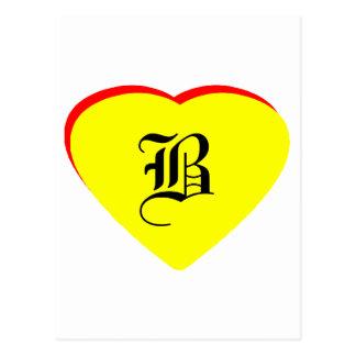 """B"" Heart Yellow Red Wedding Invitation The MUSEUM Postcard"