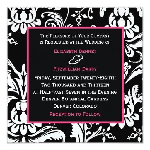 """B&HP Contemporary Damask Invitation 5.25"""" Square Invitation Card"""