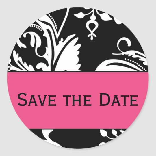 B&HP Contemporary Damask Save the Date Sticker