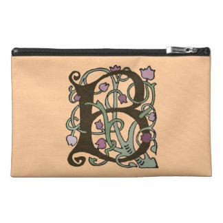 B Initial Cap Decorative Floral Design Vintage Travel Accessory Bags