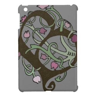 B Initial Cap Decorative Floral Design Vintage Case For The iPad Mini