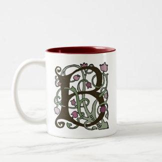 B Initial Cap Decorative Floral Design Vintage Two-Tone Coffee Mug