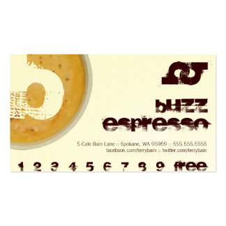B - Initial Letter Foamy Coffee Cup Loyalty Punch Business Card