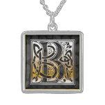 """B Initial Monogram """"Celtic Black Stone"""" Necklaces"""