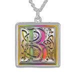 "B Initial Monogram ""Celtic Rainbow"" Necklace Jewelry"