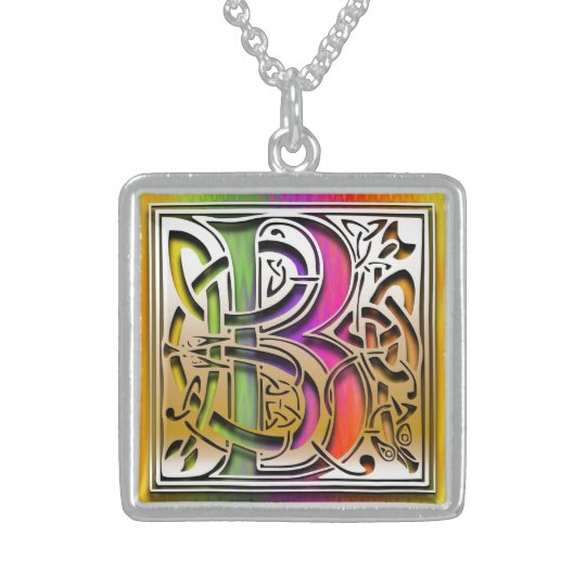 "B Initial Monogram ""Celtic Rainbow"" Necklace"