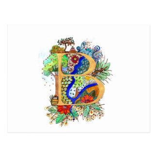 B, initial, monogram, wedding postcard