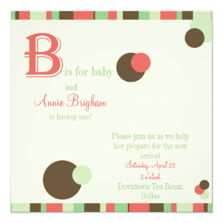 B is for Baby - Girl Baby Shower Invitation