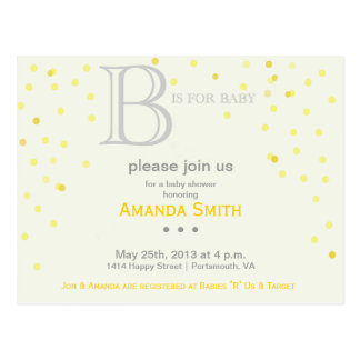 """""""B"""" is for Baby Shower Invite Postcard"""