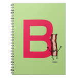 B is for Bacon happy jumping strip abc letter Spiral Notebook