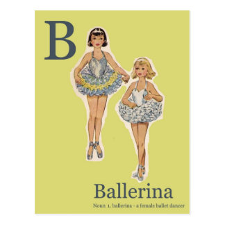 B is for Ballerina Fashion Alphabet Postcard