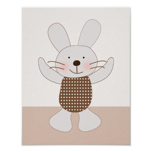 B is for Bear Bunny Rabbit Art Poster
