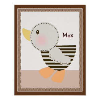 B is for Bear Duck Personalized Art Poster