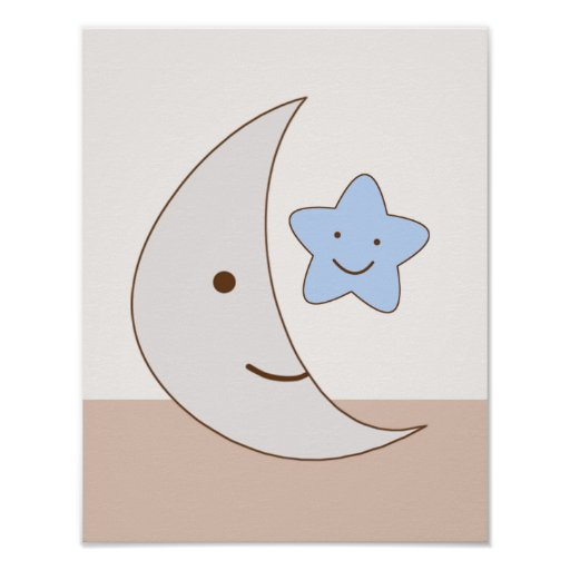 B is for Bear Moon and Star Art Poster