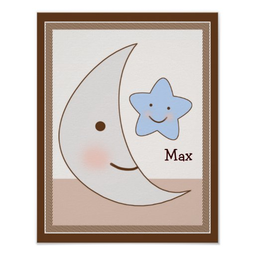 B is for Bear Moon & Star Personalized Art Poster
