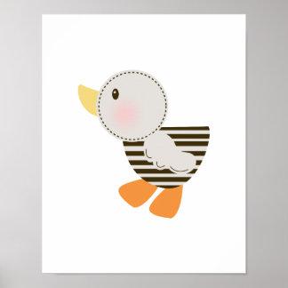 B is for Bear Teddy Bear  Duck Art Poster