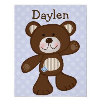 B is for Bear with Polka Dots Art Print