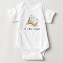 B is for Beignet Sugary New Orleans Pastry Letter Baby Bodysuit