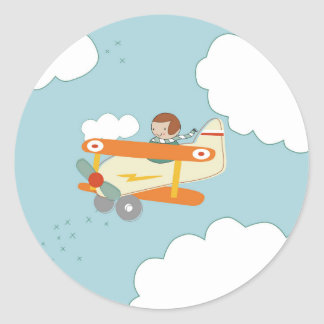 B is for Biplane Classic Round Sticker
