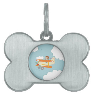 B is for Biplane Pet ID Tag