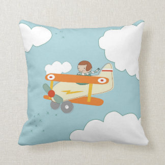 B is for Biplane Throw Pillow
