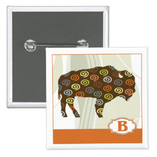 B is for Bison Pinback Button