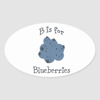 B is for Blueberries Oval Sticker