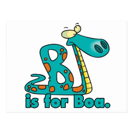 B is for boa constrictor silly snake cartoon postcard