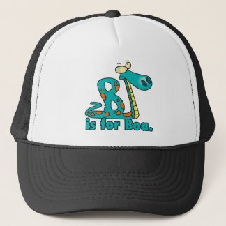 B is for boa constrictor silly snake cartoon trucker hat