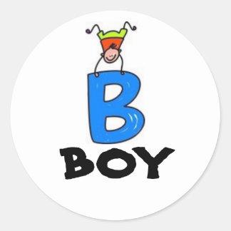 """B"" is for BOY Classic Round Sticker"