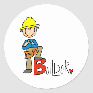 B is for Builder Classic Round Sticker