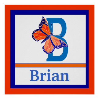 B is for Butterfly and Boy Name Wall Art for Kids