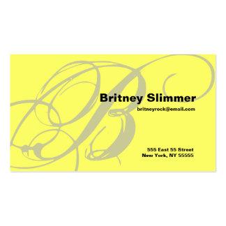 B Letter Alphabet Business Card Yellow