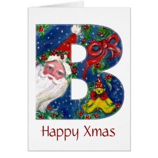 B LETTER / SANTA CLAUS WITH RED RIBBON MONOGRAM GREETING CARD