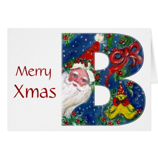 B LETTER / SANTA CLAUS WITH RED RIBBON MONOGRAM GREETING CARDS