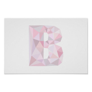 B - Low Poly Triangles - Neutral Pink Purple Gray Poster