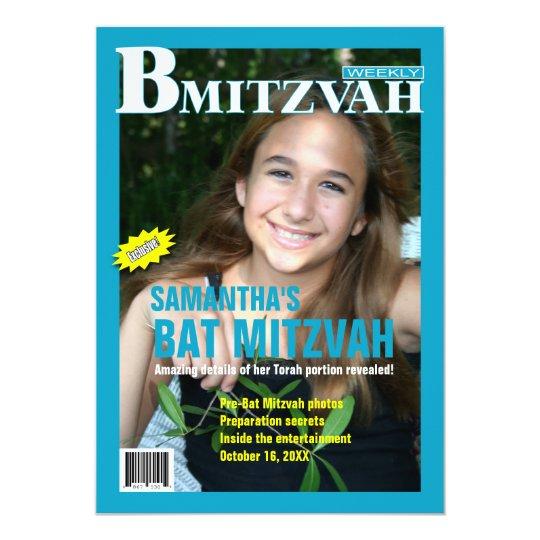 B Mitzvah Magazine Invitation in Turquoise
