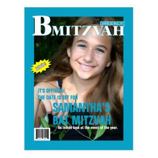 B Mitzvah Magazine Save the Date Postcard, Turq. Postcard
