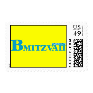 B Mitzvah Magazine Stamp in Turquoise, Medium