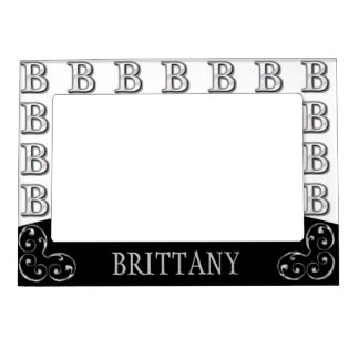 B - Modern Metallic Monogram (Silver) Magnetic Photo Frame