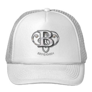 B - Modern Metallic Monogram (Silver) Trucker Hat