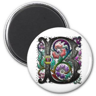B Monogram 2 Inch Round Magnet