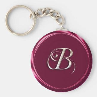 B-monogram Basic Round Button Keychain