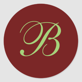 B Monogram Envelope Seal Classic Round Sticker